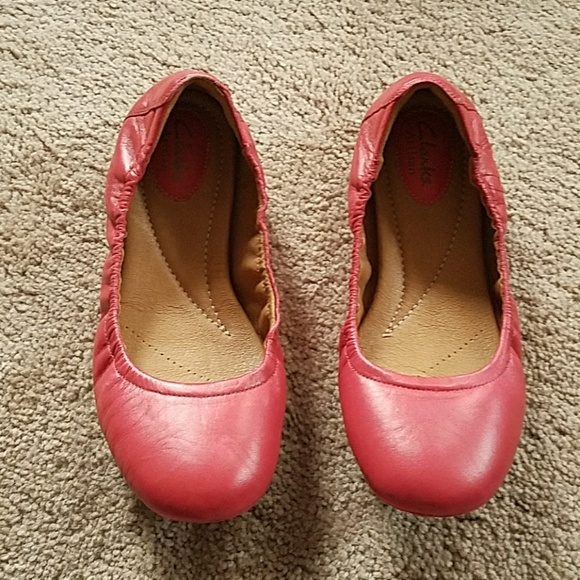 22e2cfe8565 Clarks Shoes - Clarks Red Leather Ballet Flats